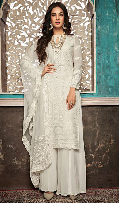 White Color Embroidered Georgette Palazzo Dress
