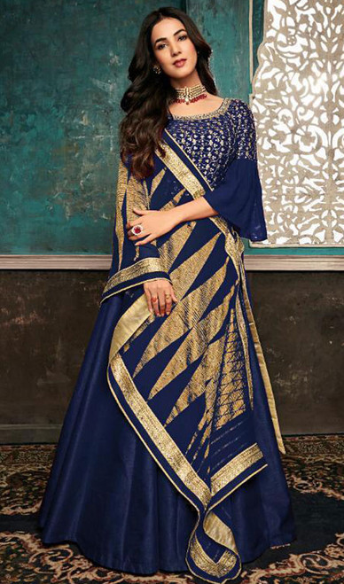 Blue Color Silk Embroidered Anarkali Suit