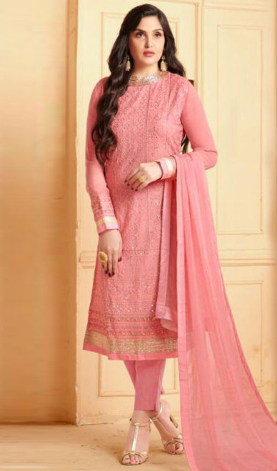 Peach Color Embroidered Georgette Pant Style Suit