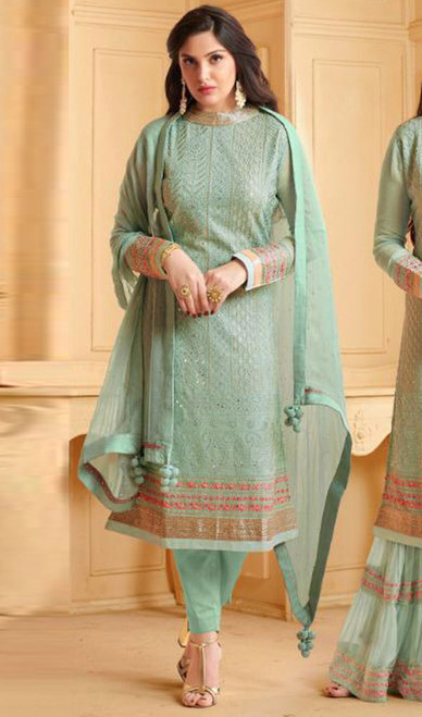 Light Green Color Shaded Georgette Pant Style Suit