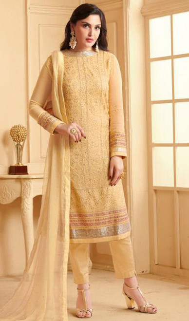 Yellow Color Embroidered Georgette Pant Style Suit