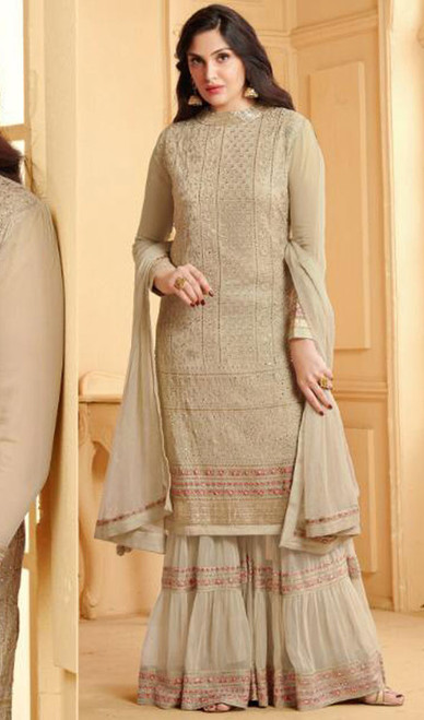 Beige Color Embroidered Georgette Palazzo Suit