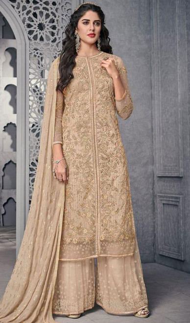 Beige Color Embroidered Net Palazzo Suit