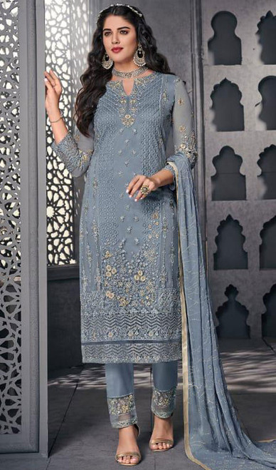 Gray Color Net Embroidered Pant Style Suit