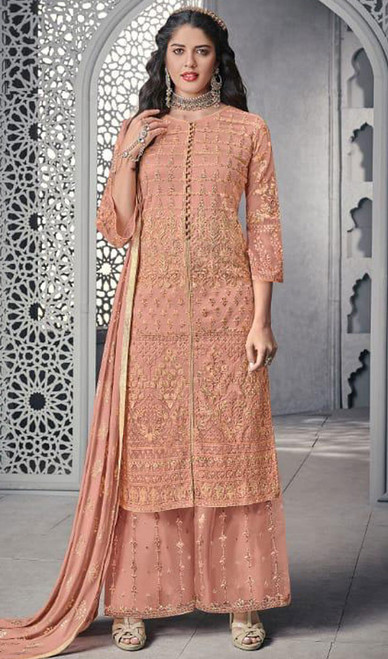 Embroidered Net Peach Color Palazzo Suit