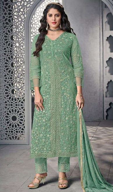 Green Color Net Embroidered Pant Style Suit