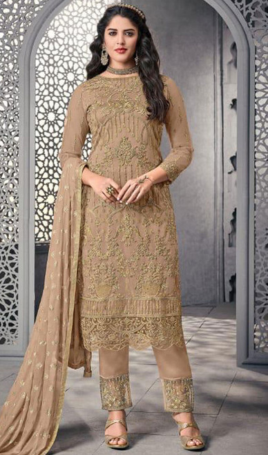 Pant Style Suit in Beige Color Embroidered Net