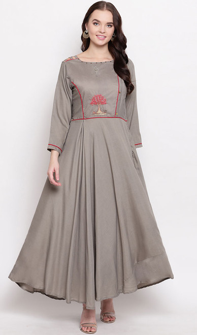 Beige Color Shaded Viscose Maslin Gown