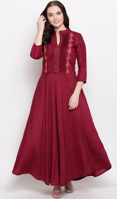 Maroon Color Shaded Viscose Maslin Gown