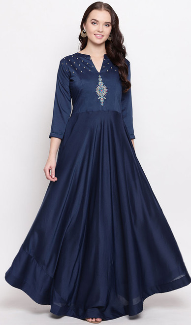 Navy Blue Color Shaded Viscose Maslin Gown