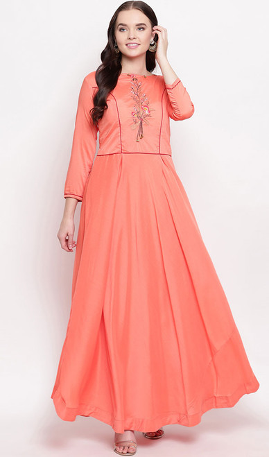 Peach Color Shaded Viscose Maslin Gown