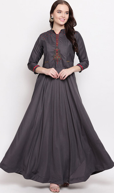 Gown in Gray Color Shaded Viscose Maslin