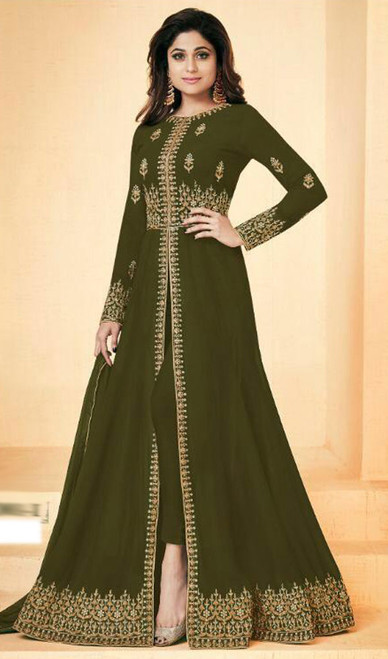 Shamita Shetty Green Color Shaded Georgette Suit