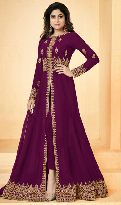 Shamita Shetty Georgette Purple Color Shaded Suit