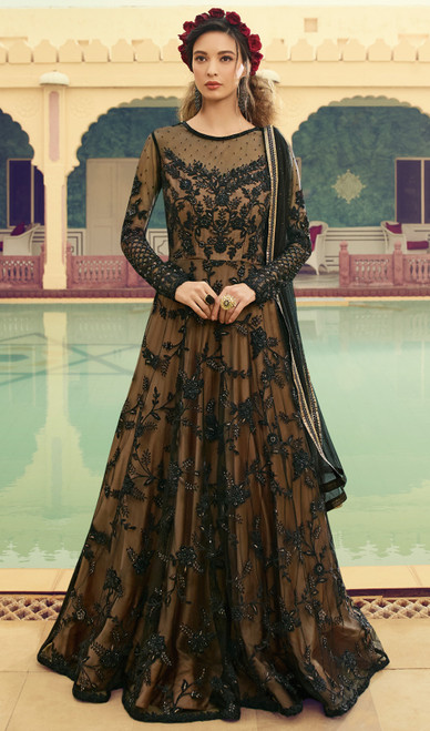 Brown Color Embroidered Net Anarkali Suit