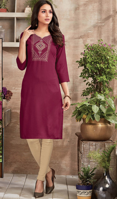 Maroon Color Shaded Rayon Tunic