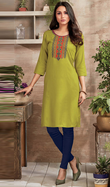 Embroidered Rayon Tunic in Green Color