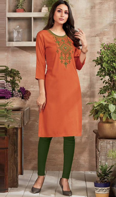 Orange Color Shaded Rayon Tunic