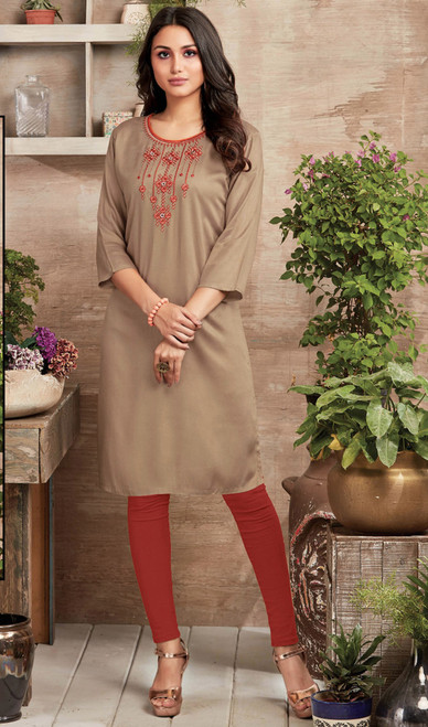 Beige Color Shaded Rayon Kurti