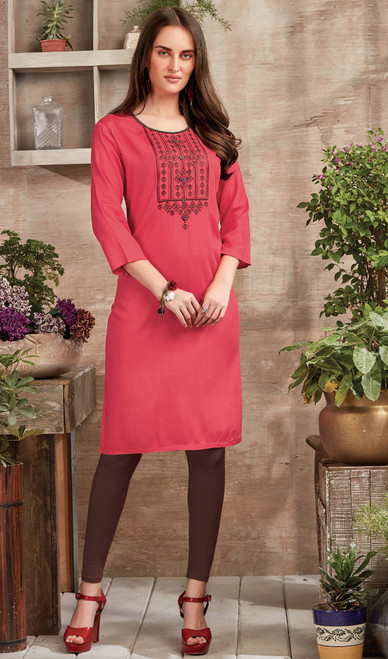 Tunic, Rayon Fabric in Pink Color Shaded