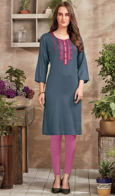 Gray Color Embroidered Rayon Tunic