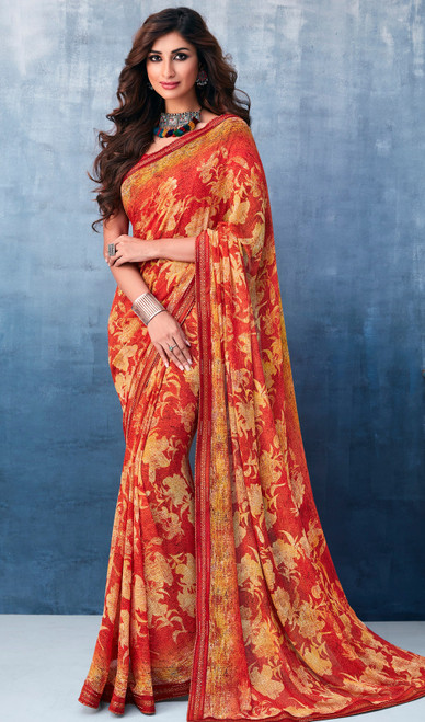 Georgette Orange Color Shaded Printed Sari