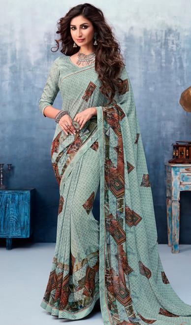 Printed Sari in Green Color Shaded Silk Georgette