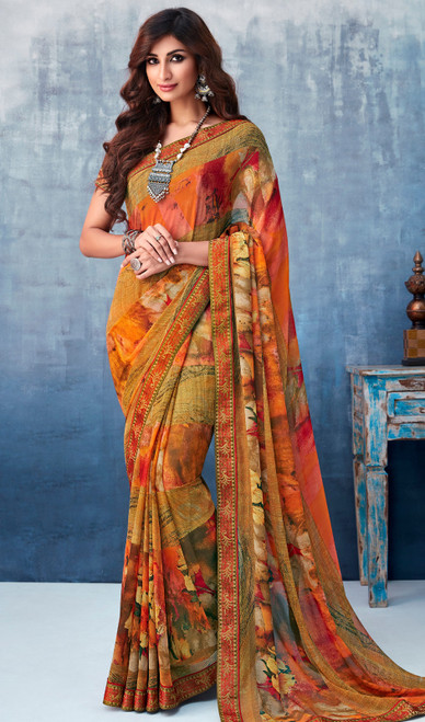 Georgette Printed Sari in Multicolor Shaded