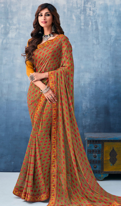 Georgette Beige Color Shaded Printed Sari