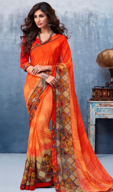 Georgette Printed Orange Color Shaded Sari