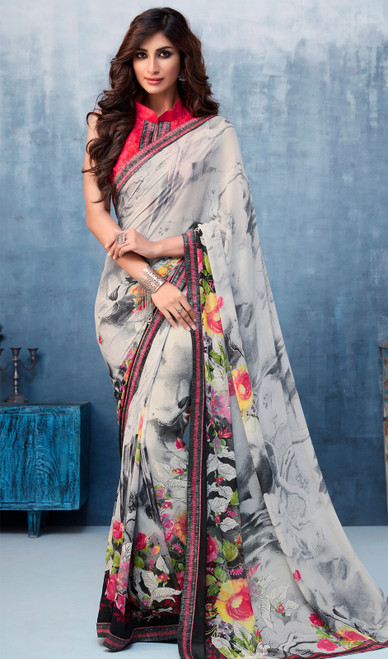 Gray Color Shaded Georgette Printed Sari
