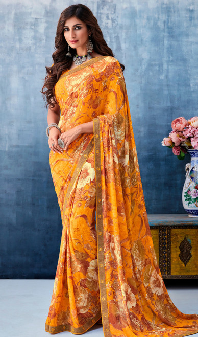 Printed Sari in Yellow Color Georgette