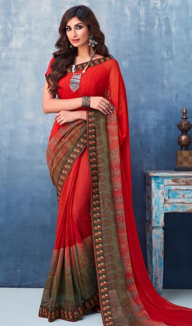 Red Color Shaded Printed Georgette Sari