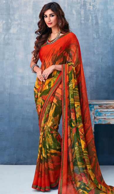 Multicolor Shaded Georgette Printed Sari