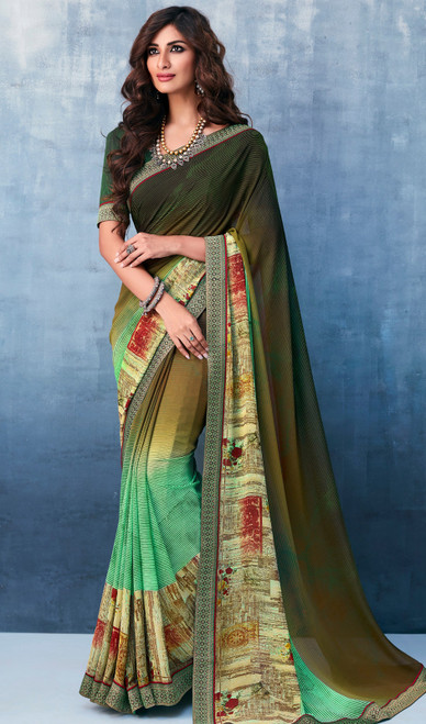 Printed Sari in Multicolor Shaded Georgette