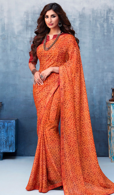 Dark Orange Color Shaded Georgette Printed Sari