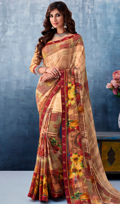 Brown Color Shaded Georgette Printed Sari