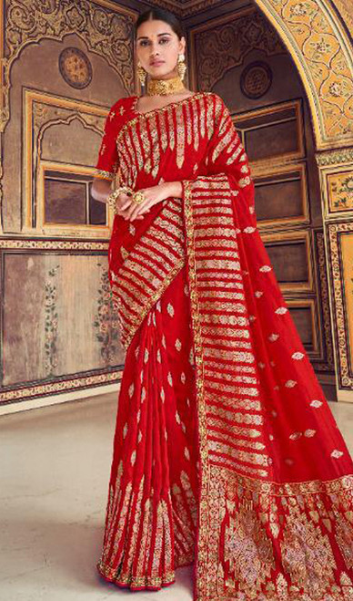 Red Color Shaded Silk Printed Sari