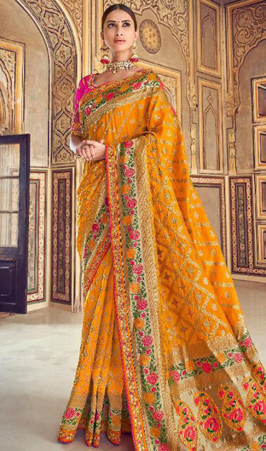 Silk Yellow Color Shaded Printed Sari