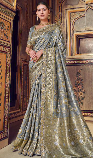 Gray Color Shaded Silk Printed Sari