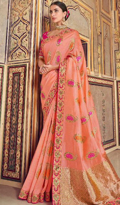 Silk Printed Peach Color Shaded Sari