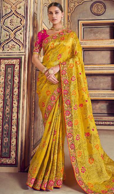 Printed Sari in Yellow Color Shaded Silk