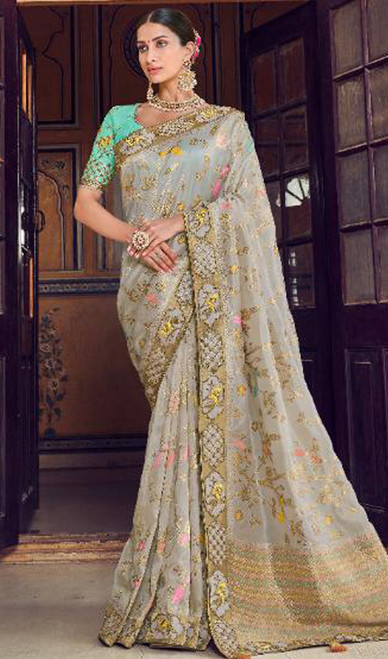 Off White Color Shaded Silk Printed Sari
