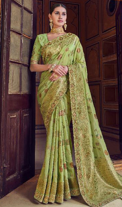 Silk Printed Green Color Shaded Sari