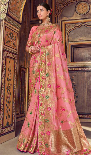 Printed Sari, Silk Fabric in Pink Color Shaded