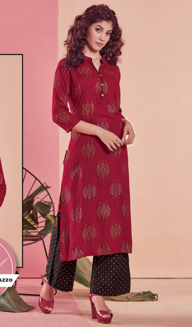 Rayon Tunic in Maroon Color