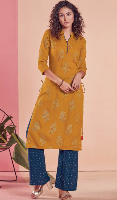 Rayon Mustard Color Shaded Tunic
