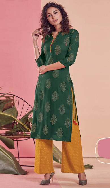 Green Color Shaded Rayon Tunic