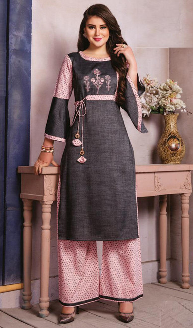 Gray and Pink Color Shaded Cotton Tunic