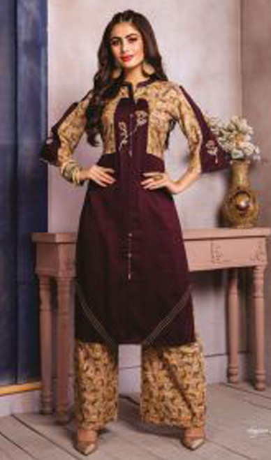 Maroon and Beige Color Shaded Cotton Tunic